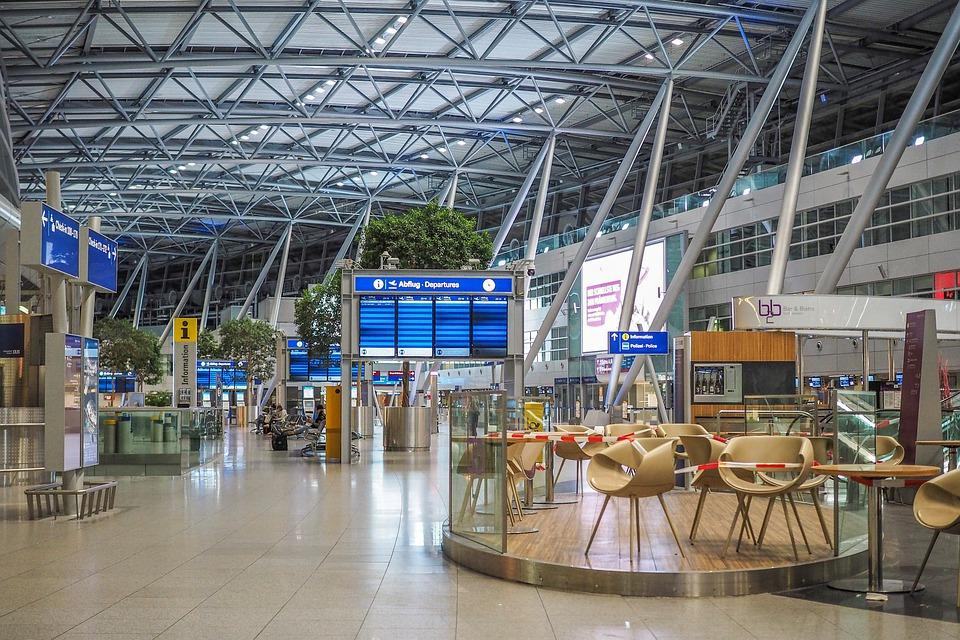 Empty airport terminal during travel bad due to COVID